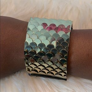 Leather And Gold Cuff Bracelet